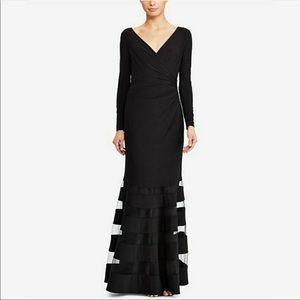 Lauren Ralph Lauren black long sleeve gown tulle
